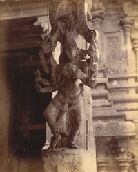 Close view of pillar with sculptured figure from the Pudu Mandapa, Minakshi Sundareshvara Temple, Madurai. 10032320